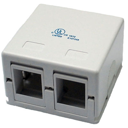 2 PORT KEYSTONE SURFACE BOX FOR TM313 & TM314, WHITE