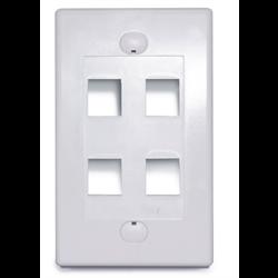 4 PORT DESIGNER STYLE KEYSTONE FLUSH PLATE, WHITE