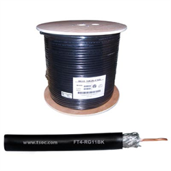 1000FT/305M FT4 14AWG RG11 COAXIAL CABLE CCS 60% BRAID, BLACK