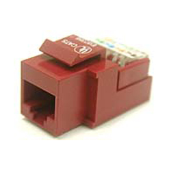 CAT 5E RJ45 KEYSTONE DATA MODULE HINGED TOOLESS, RED