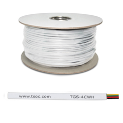 1000FT/305M FT1 26AWG 4 CONDUCTOR FLAT STRANDED TELEPHONE CABLE, WHITE