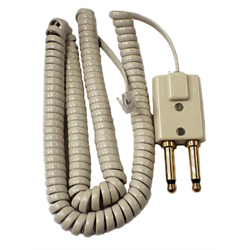 2 PRONG MODULAR CONSOLE ADAPTER WITH 15FT HANDSET CORD, CHAMELEON GREY