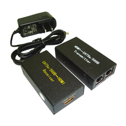 CAT 5E/CAT 6 TO HDMI EXTENDER UP TO 60M, TRANSMITTER/RECEIVER PAIR WITH POWER SU