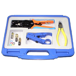 ADJUSTABLE RATCHET TERMINATION TOOL KIT FOR RG59, RG6, BNC AND RCA TYPE COMPRESS