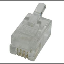 HANDSET 4P4C RJ22 STRANDED MOD PLUG, 100PCS/PKG