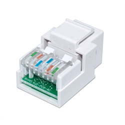 CAT 3 RJ12 KEYSTONE VOICE MODULE HINGED TOOL-LESS, WHITE