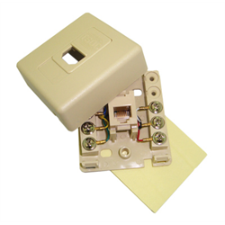 SURFACE JACK WITH DOOR 6C WITH ADHESIVE TAPE, IVORY