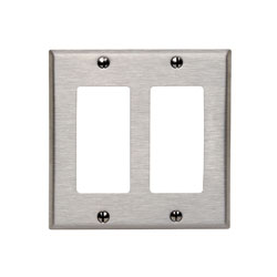 DECORA COVER PLATE DUAL GANG, STAINLESS STEEL