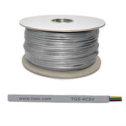 Silver satin FT1 26AWG 4 conductor flat stranded telephone bulk cable 1000ft/305m Part # TGS-4CSV