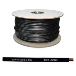 1000FT/305M FT1 26AWG 6 CONDUCTOR FLAT STRANDED TELEPHONE CABLE, BLACK