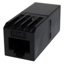 CAT 6 RJ45 INLINE COUPLER PIN1 - PIN1, BLACK