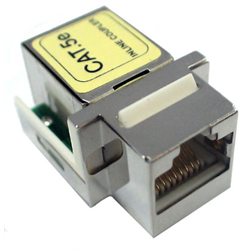 CAT 5E RJ45 KEYSTONE COUPLER PIN1 - PIN1, FULLY SHIELDED