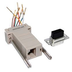 Grey Adapter Kit DB9 male to 8P8C RJ45 modular jack, grey Part # DB09-8MGY