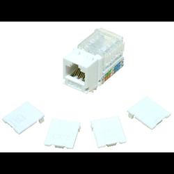 HIGH DENSITY CAT 6 RJ45 DATA KEYSTONE MODULE 110 WITH CAPS, WHITE
