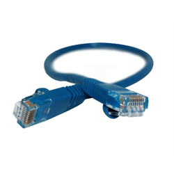 6INCH CAT 5E MOLDED BOOTED PATCH CABLE, BLUE