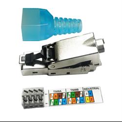 8P8C Cable connectors RJ45 Solid CAT 6A shielded industrial field termination mod plug Part # MP-8P8C6ASSH-EZ-EA