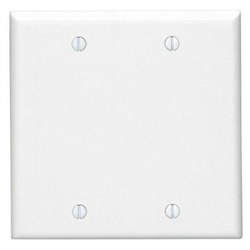 SMOOTH DUAL GANG FLUSH COVER PLATE - BLANK, WHITE