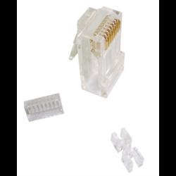 CAT 6 8P8C SOLID MOD PLUG 3 PIECE TYPE WITH INSERT, 50PCS/PKG