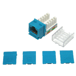 HIGH DENISTY CAT 6 RJ45 DATA KEYSTONE MODULE 110 WITH CAPS, BLUE