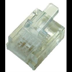 6P6C RJ12 SOLID MOD PLUG, 100PCS/PKG