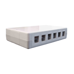6 OR 12 PORT KEYSTONE SURFACE BOX WITH CABLE MANAGER, WHITE