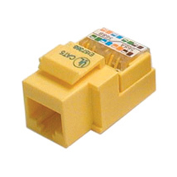 CAT 5E RJ45 KEYSTONE DATA MODULE HINGED TOOLESS, YELLOW