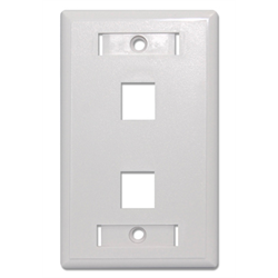 2 PORT DESIGNER KEYSTONE FACEPLATE, WHITE