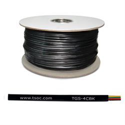 1000FT/305M FT1 26AWG 4 CONDUCTOR FLAT STRANDED TELEPHONE CABLE, BLACK