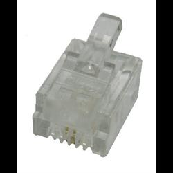 6P2C SOLID MOD PLUG, 100PCS/PKG