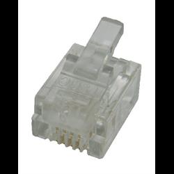 6P4C RJ11 STRANDED MOD PLUG, 100PCS/PKG