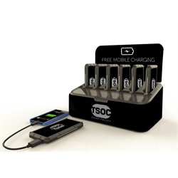 TSOC HOSPITALITY SHARED USB CHARGING SOLUTION WITH 6  X POWER BANKS, BLACK