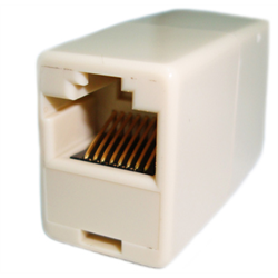 IN LINE HANDSET CORD COUPLER 10P10C RJ50 PIN1-PIN1, IVORY