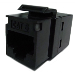 HIGH DENSITY CAT 6 RJ45 KEYSTONE COUPLER PANEL MOUNT PIN1-PIN1, BLACK
