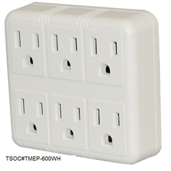 6 OUTLET POWER TAP, WHITE