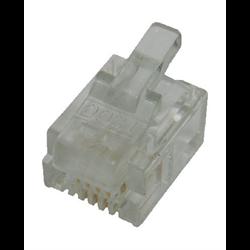 6P4C RJ11 SOLID MOD PLUG, 100PCS/PKG