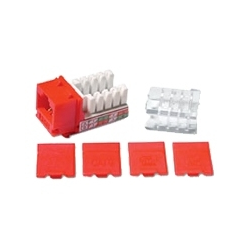 HIGH DENISTY CAT 6 RJ45 DATA KEYSTONE MODULE 110 WITH CAPS, RED